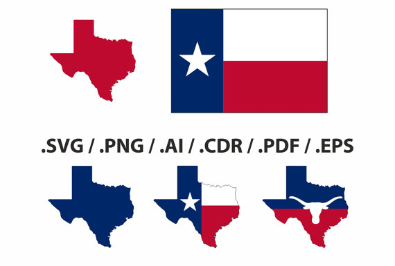 570x385 Texas State Map, Flag And Symbols Clipart Collection. Ai, Eps, Svg