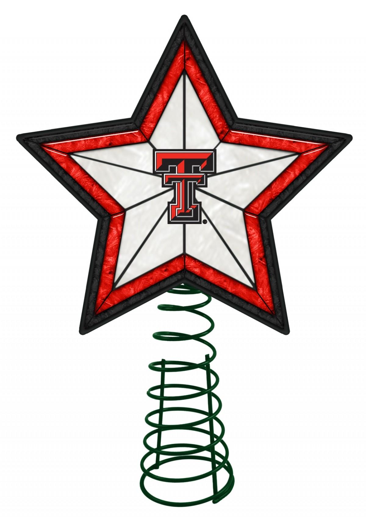 1200x1694 Texas Tech Red Raiders Art Glass Tree Topper Sports Merchandise