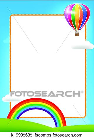 320x470 Clipart Of Balloon And Rainbow With Text Box On Blue Sky