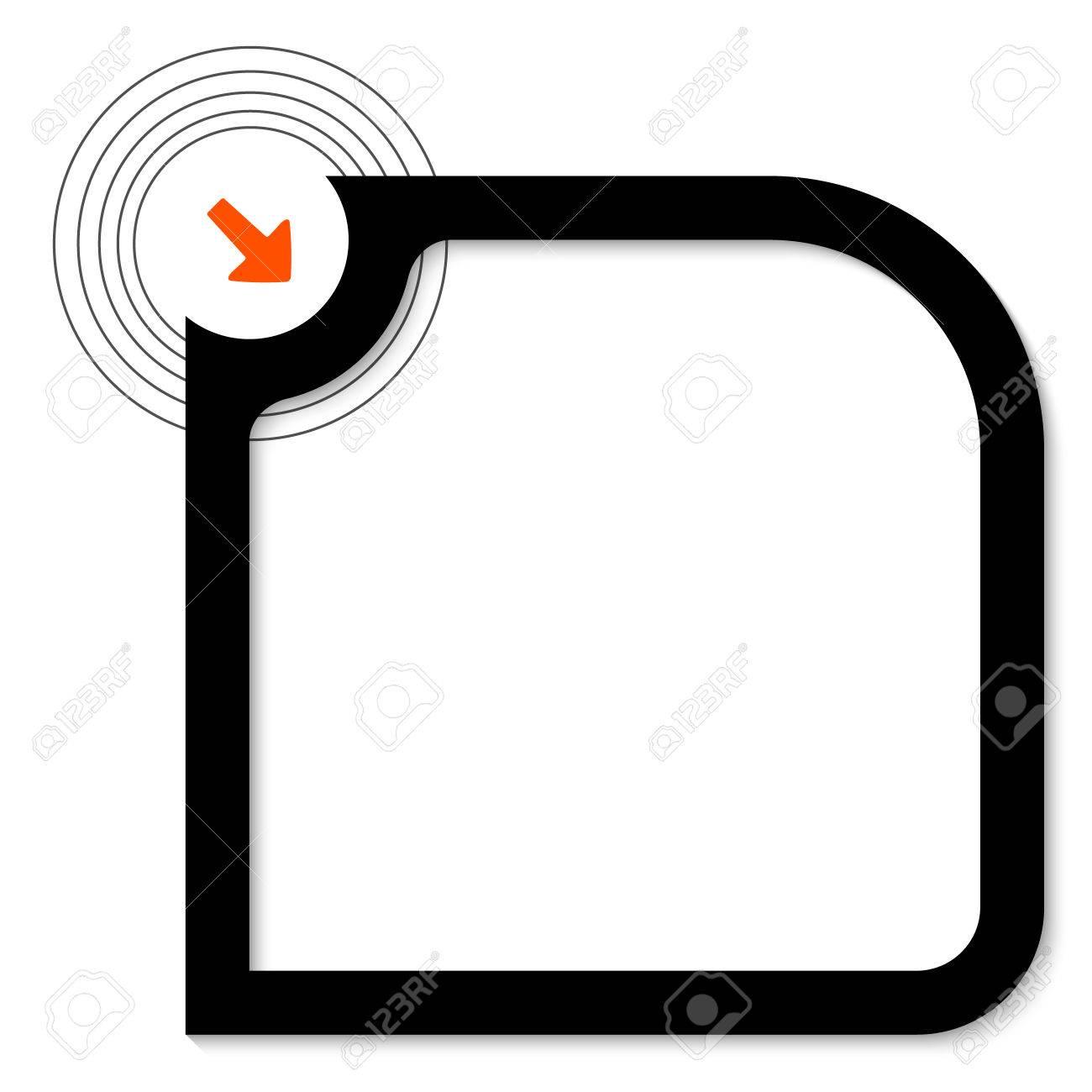 1300x1300 Black Text Box With Orange Arrow Royalty Free Cliparts, Vectors