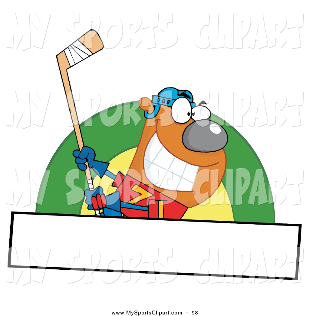 1024x1044 Sports Clip Art Of A Sporty Ice Hockey Bear Swinging A Stick Over