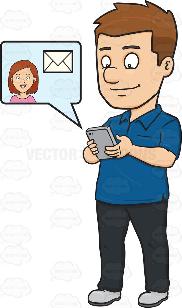 606x1024 A Man About To Read A Text Message From A Woman Cartoon Clipart
