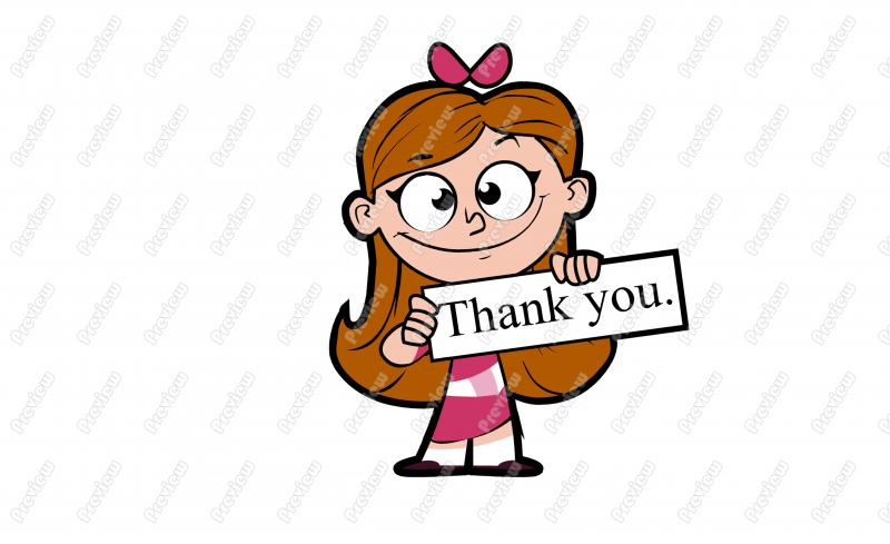 800x489 Thank You Girl Holding Sign Character Clip Art