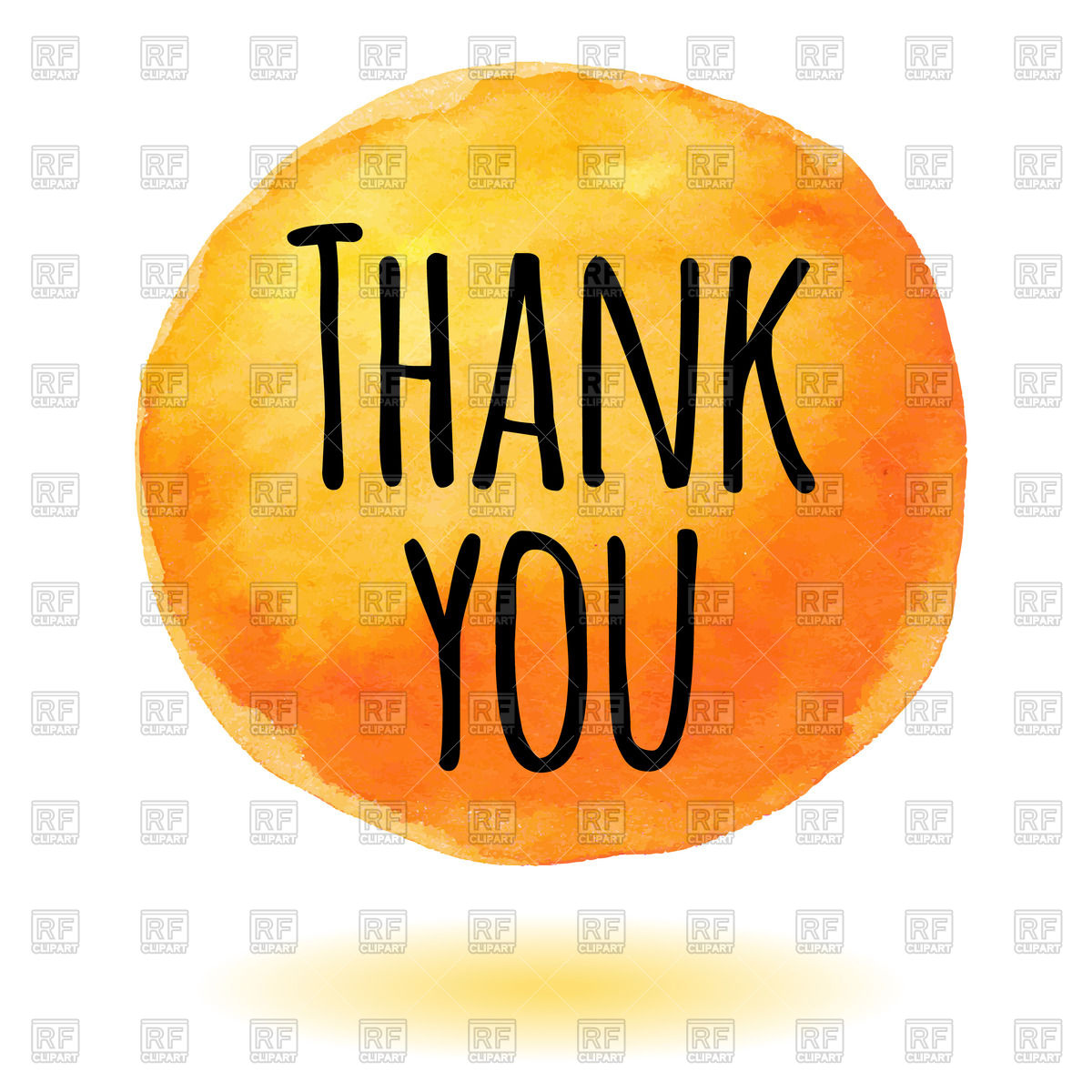 1200x1200 Thank You Card With Orange Watercolor Circle Royalty Free Vector