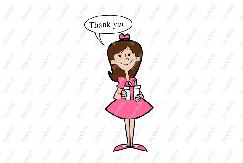 800x536 Thank You Smiling Girl Character Clip Art