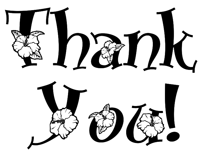 698x540 Thank You Note Floral Bw Clipart Cliparts For You