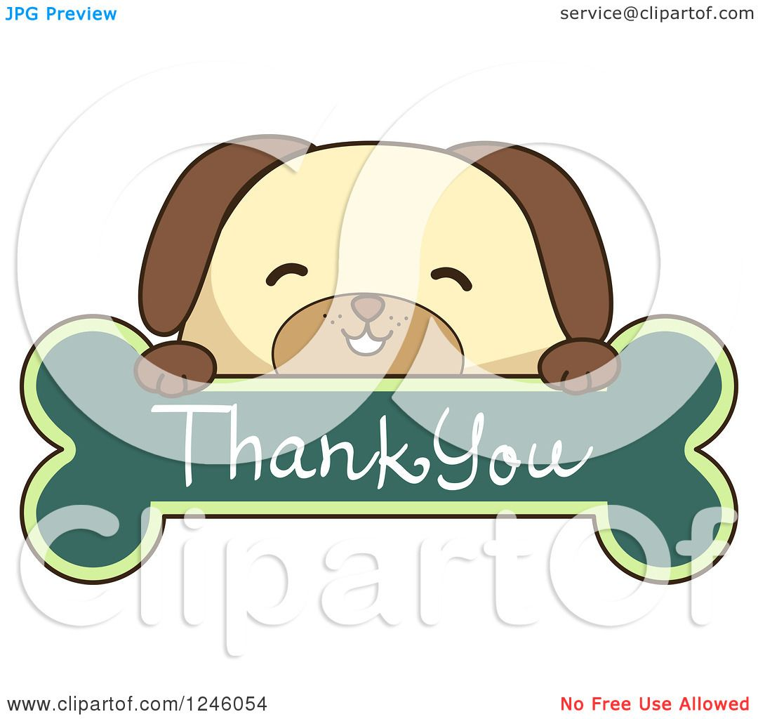 1080x1024 Clipart Of A Dog Over A Thank You Bone Sign