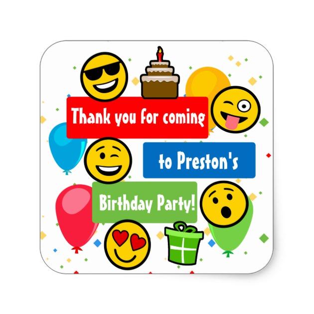 630x630 Emoji Birthday Party Kids Or Boys Thank You Square Sticker