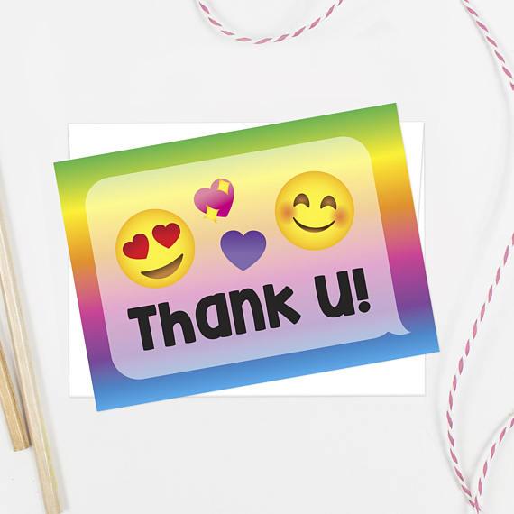 570x570 Emoji Thank You Cards Printed Set Matches Emoji Party