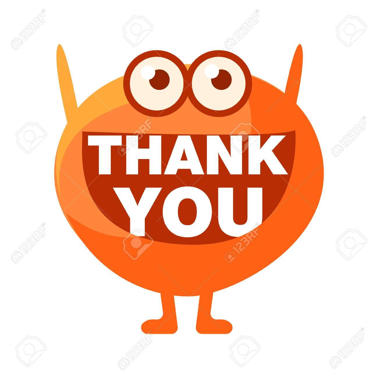 1300x1300 Orange Blob Saying Thank You, Cute Emoji Character With Word