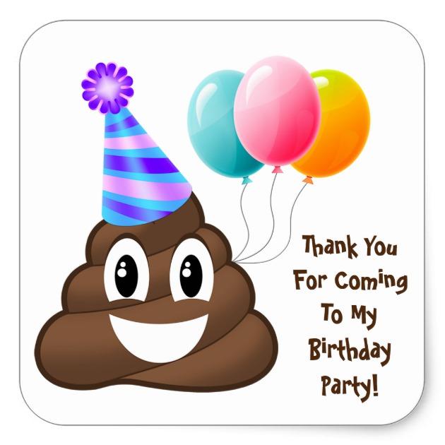 630x630 Thank You Customized Poop Emoji Birthday Stickers