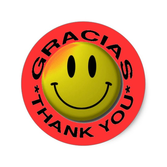 540x540 Gracias Smiley Thank You Classic Round Sticker