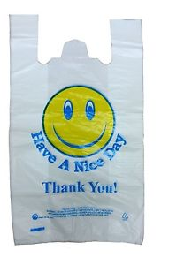 191x300 100 Smiley Face Thank You Plastic Vest Carrier Bags 12x18x21