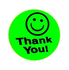 296x300 500 Big Green Thank You Smiley Label Sticker Best Price 1 12