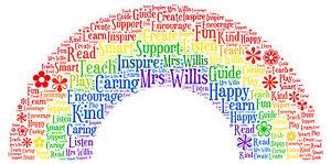 300x149 Thank You Teacher Assistant Gifts Rainbow Apple Star Word Art