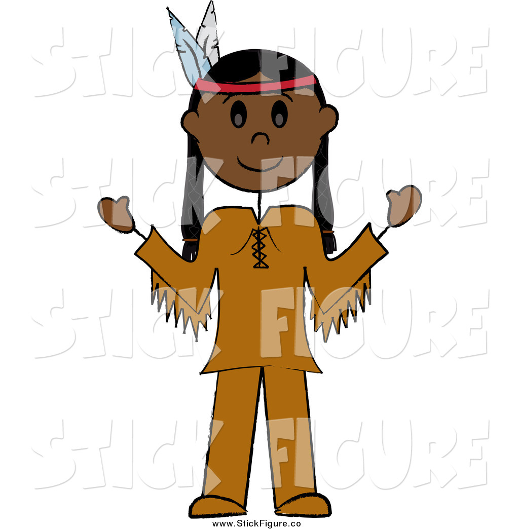 1024x1044 Clip Art Of A Thanksgiving Stick Person Native American Man By