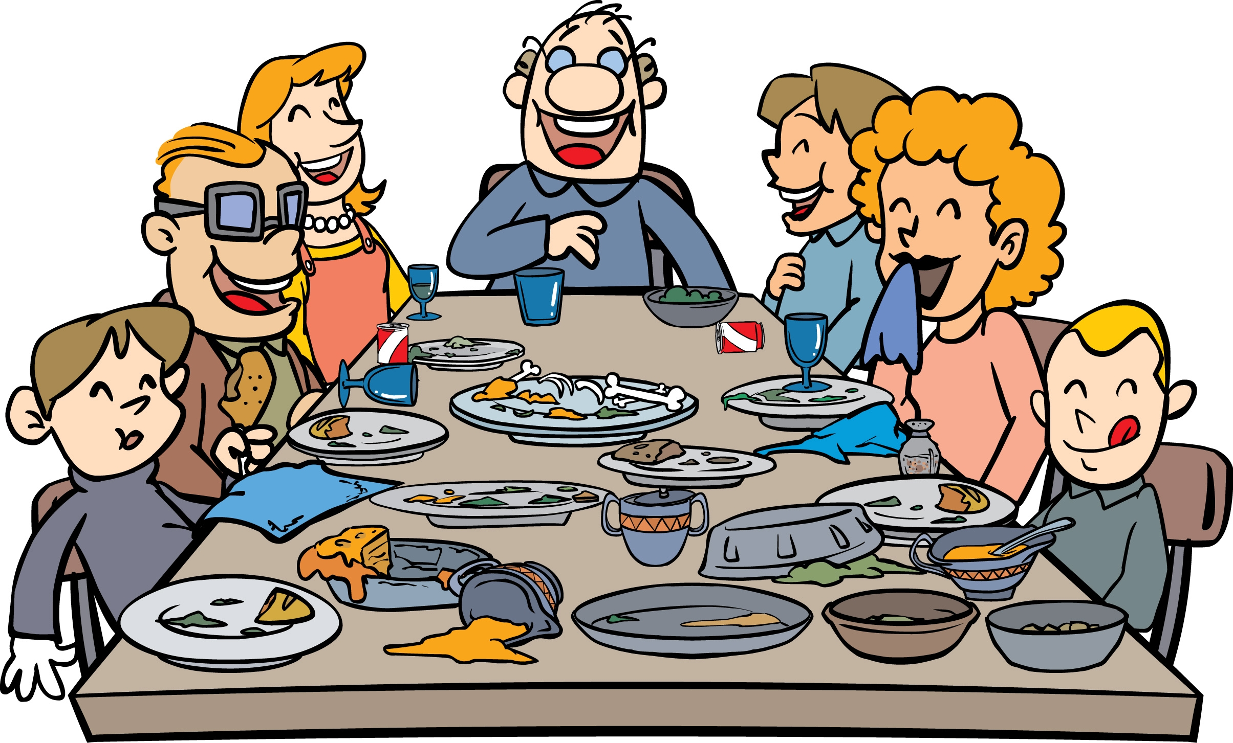 2409x1453 Thanksgiving Dinner With Family Clipart