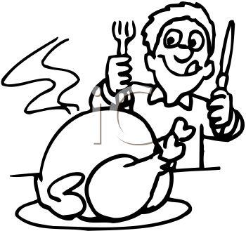 350x329 Thanksgiving Dinner Black And White Clipart