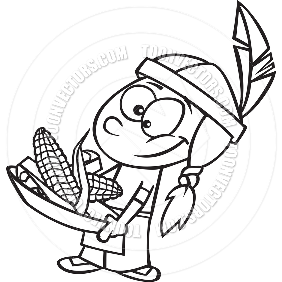 940x940 Thanksgiving Indian Black And White Clipart