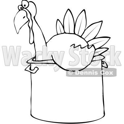 400x400 of a Cartoon Black and White Thanksgiving Turkey Bird Sitting in a