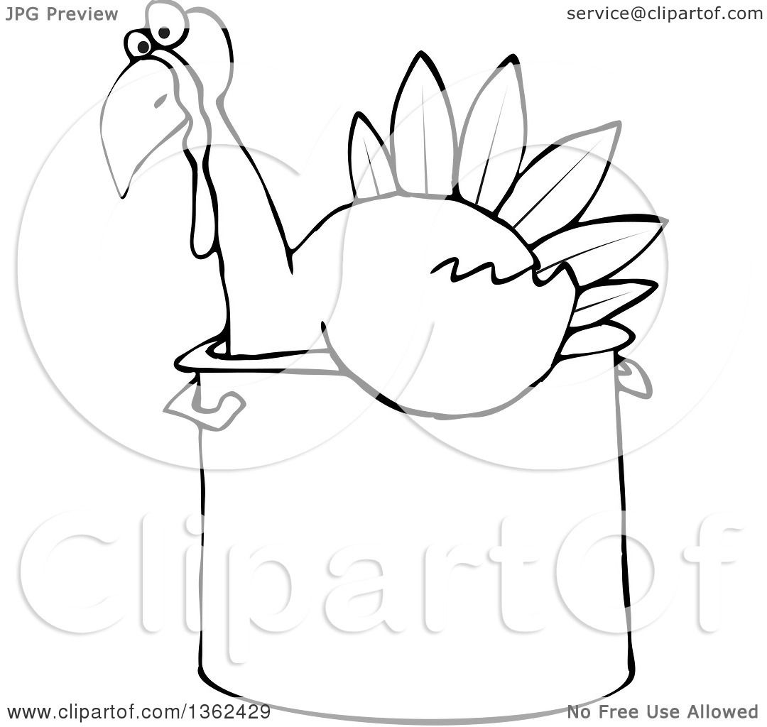 1080x1024 Clipart of a Cartoon Black and White Thanksgiving Turkey Bird