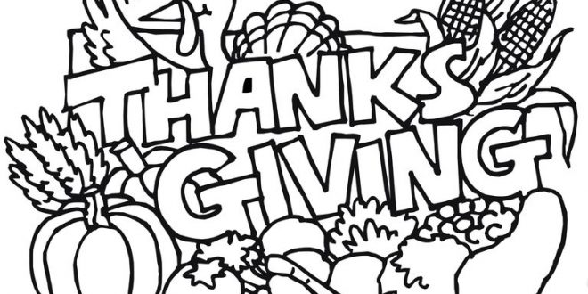 660x330 Thanksgiving Coloring Pages – Clip Art Pages – Thanksgiving Blessings