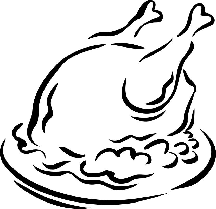830x805 Thanksgiving Dinner Clip Art – Black And White – 101 Clip Art