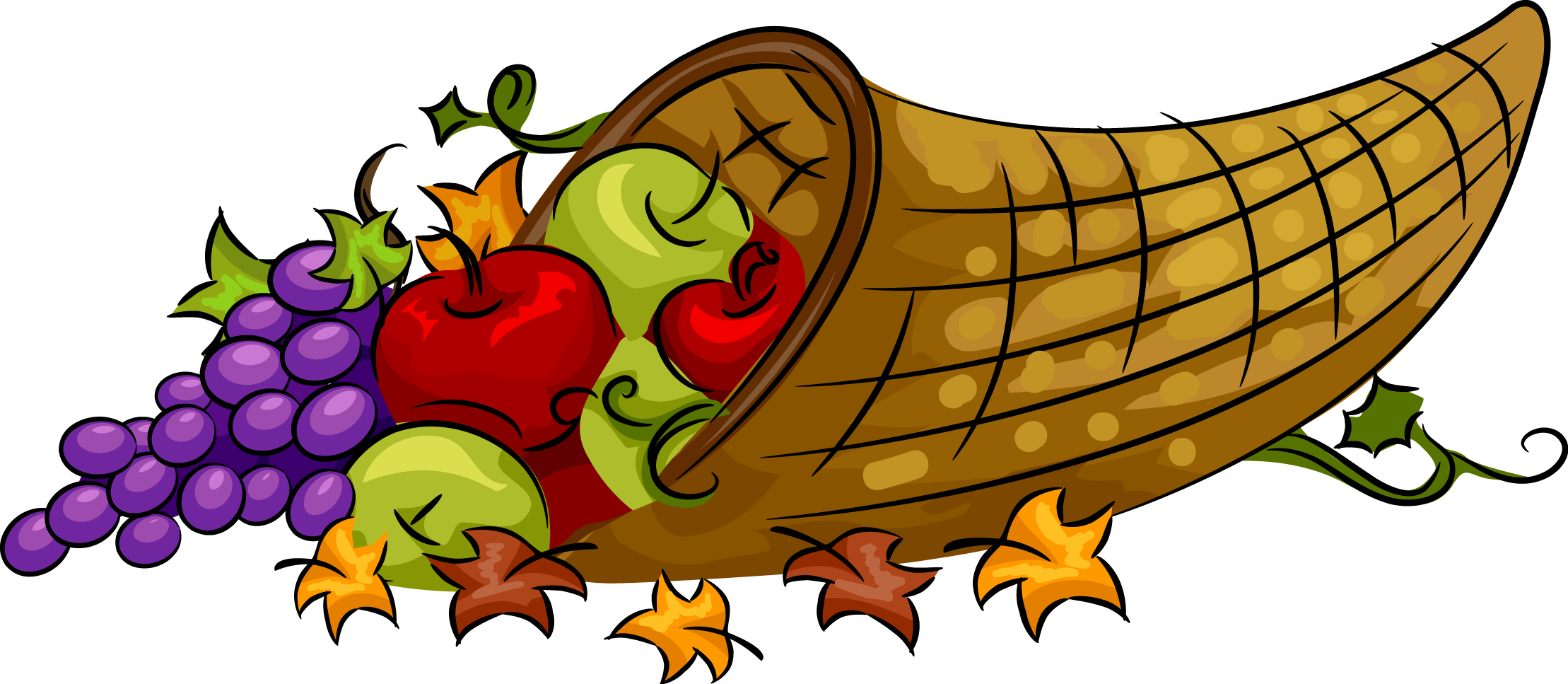 2218x967 Happy Thanksgiving Cornucopia Clipart