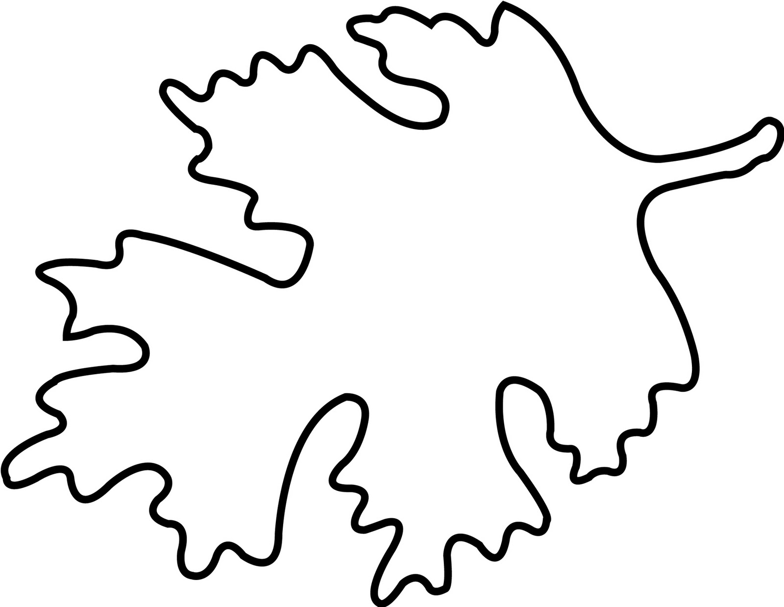 1600x1238 Oak leaf clip art black and white