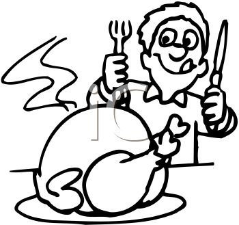 350x329 Thanksgiving Dinner Clipart – Black And White – 101 Clip Art