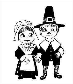 302x350 Black And White Thanksgiving Clipart