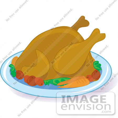 450x450 Clipart Of A Hot Cooked Turkey Bird On A Platter With Potatoes