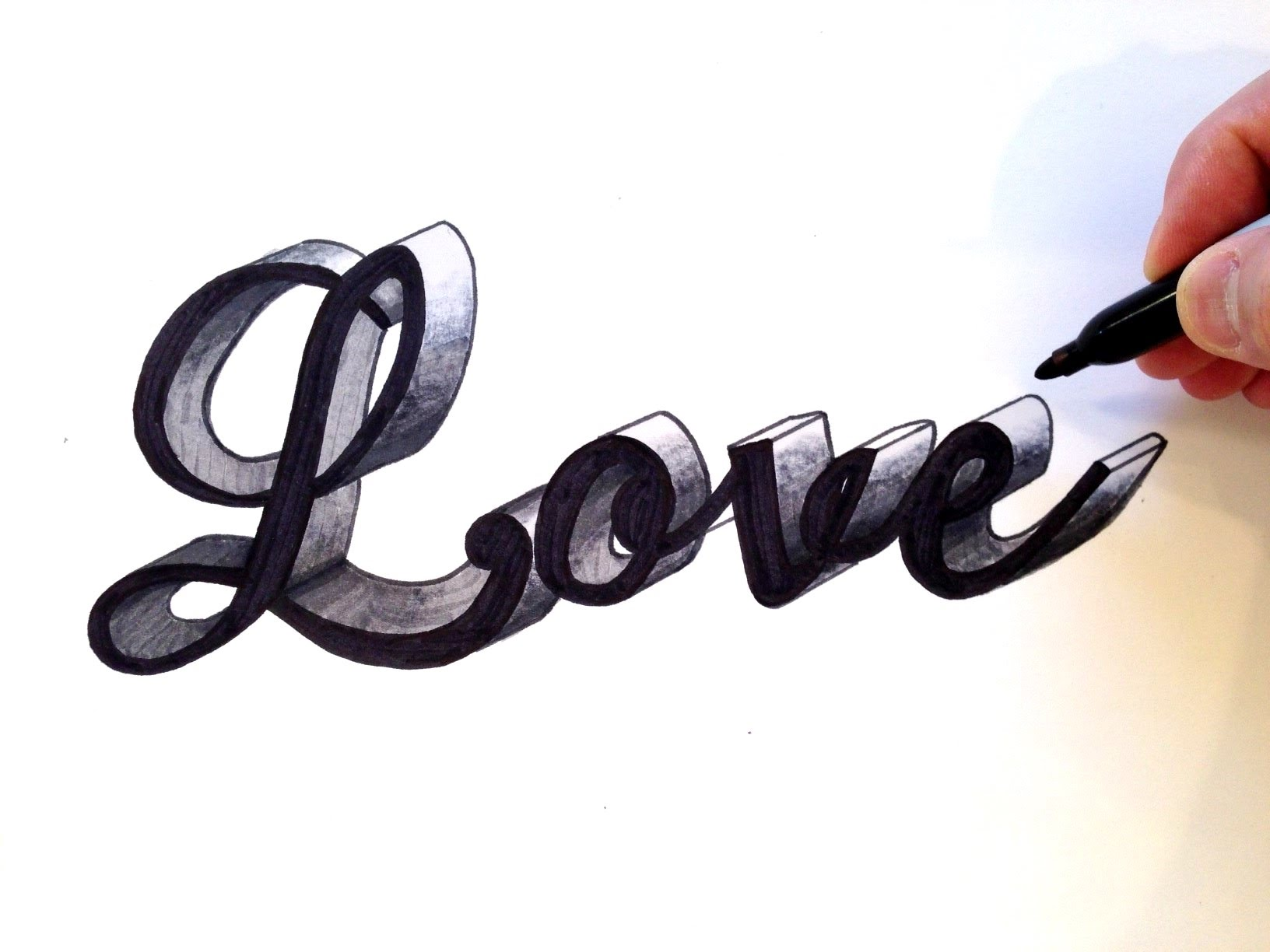 1632x1224 How To Draw Love In Cursive 3d