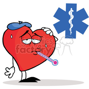 300x300 Royalty Free Flu Ridden Red Heart With A Thermometer In His Mouth