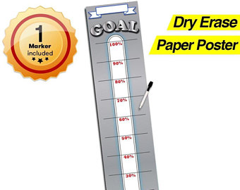 340x270 Goal Setting Thermometer Dry Erase Vinyl Decal Sticker
