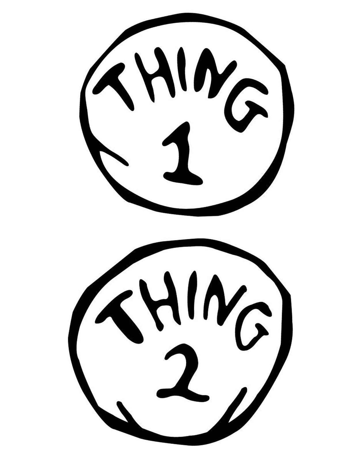Slobbery image within thing 1 and thing 2 free printable template