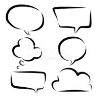 200x200 Six Style Hand Drawn Speech Bubbles And Think Bubble Stock Vectors