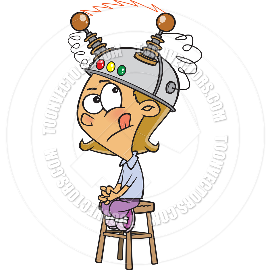 940x940 Cartoon Girl Wearing Thinking Cap By Ron Leishman Toon Vectors