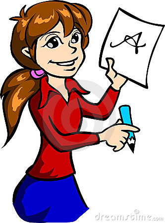 333x450 Girl Writing Clipart