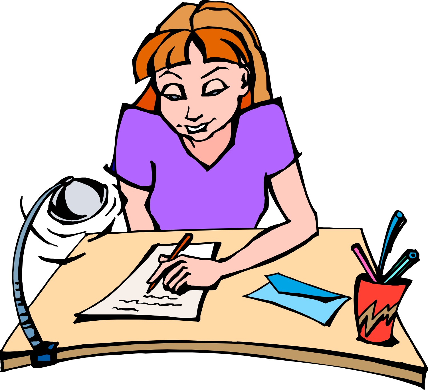 1500x1367 Girl Writing Clipart