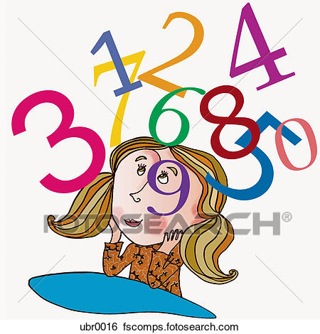 450x470 Stock Illustration Of Girl Thinking Of Numbers Ubr0016