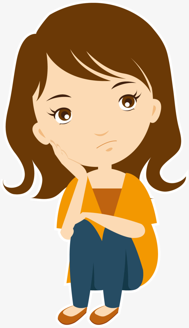 650x1128 Vector Thinking Girl, Vector, Think, Cartoon Png And Vector