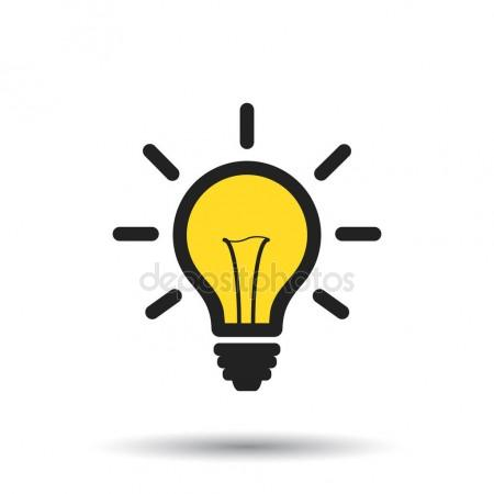 450x450 Light Bulb Line Icon Vector, Isolated On White Background. Idea