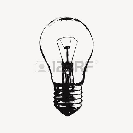 450x450 Vector Grunge Illustration With Light Bulb. Modern Hipster Sketch