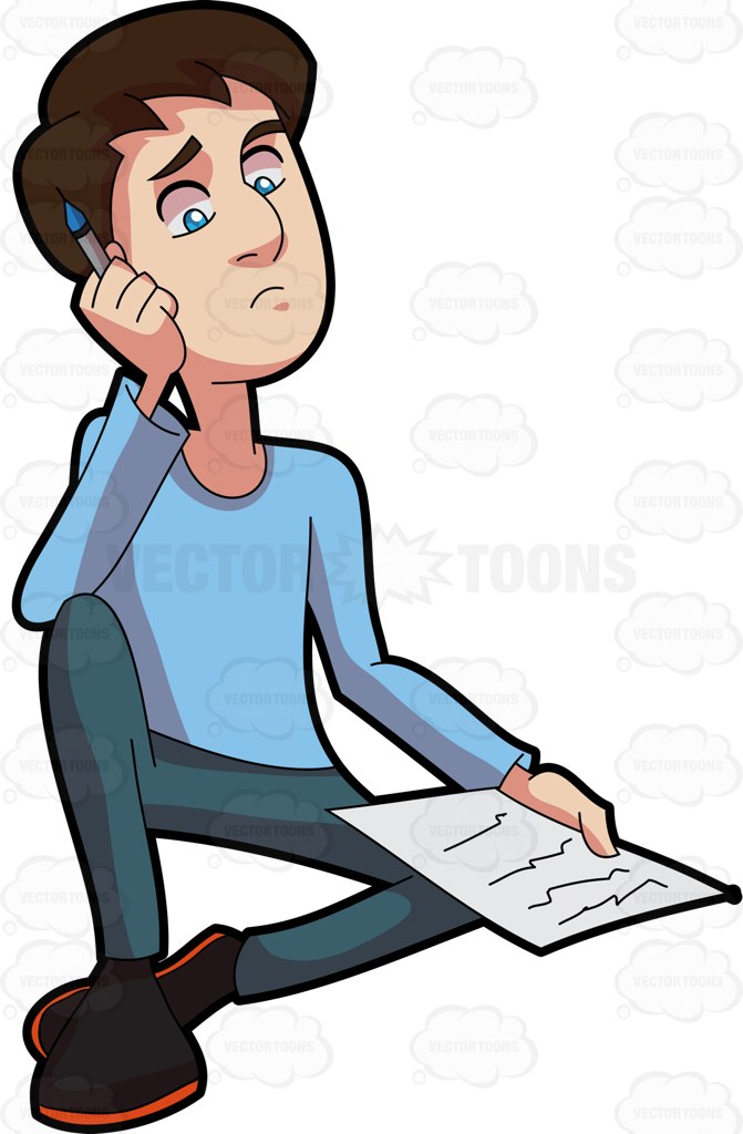 671x1024 A Man Thinking Of What To Write Clipart
