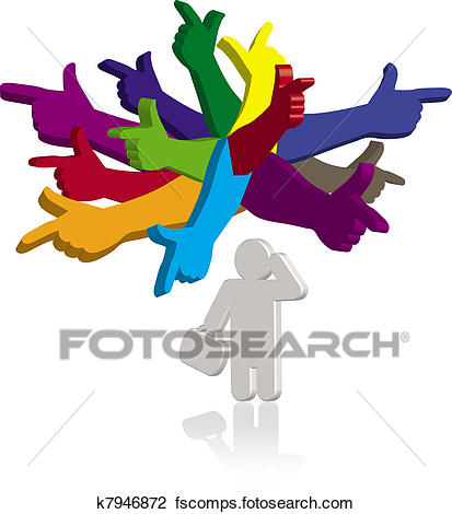 413x470 Clip Art Of Man Thinking With Color Hands Pointing In Different