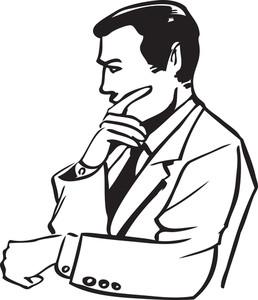 258x300 Illustration Of A Thinking Man. Royalty Free Stock Image