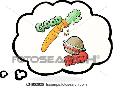 450x345 Clipart Of Thought Bubble Cartoon Good And Bad Food K34852825