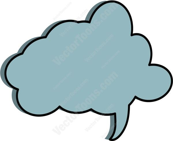 600x491 Blue Puffy Thought Cloud Talk Bubble Tail On Right Side Cartoon