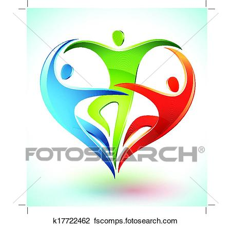 450x441 Clipart Of Three Figures Forming A Heart K17722462